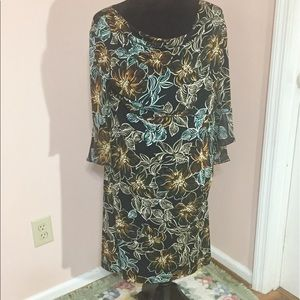 Connected Apparel Black Floral Dress